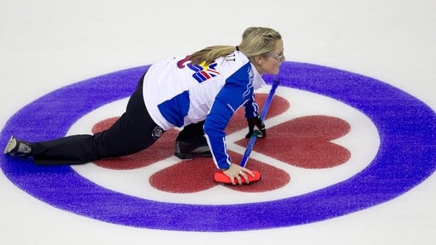 British Columbia skip Kelly Scott watches her shot during a afternoon draw against Alberta at the Scotties Tournament of Hearts in Red Deer, Alberta on Tuesday.