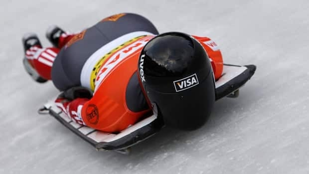 Mellissa Hollingsworth, shown here competing in Germany last January, is 0.18 seconds behind the leader at the Women's Skeleton World Championships on Thursday.