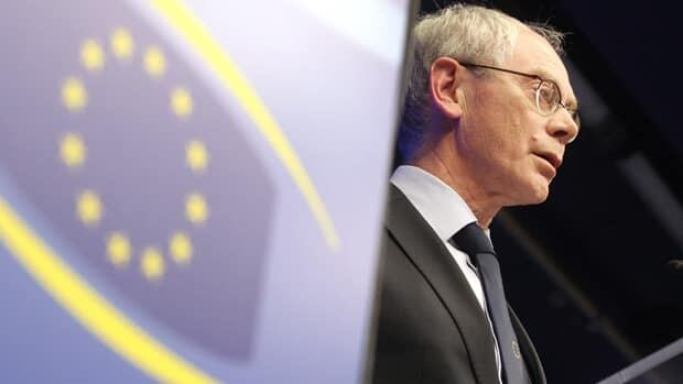 European Council President Herman Van Rompuy met with other policymakers to discuss Europe's economy over the weekend. Official data Tuesday showed the area's economy is in contraction.