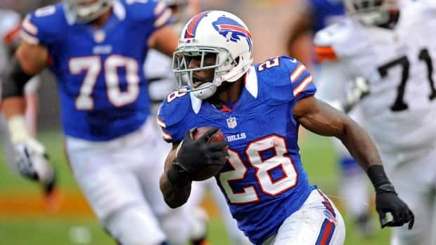 C.J. Spiller had 58 yards from scrimmage and a touchdown before going down with a left shoulder injury.