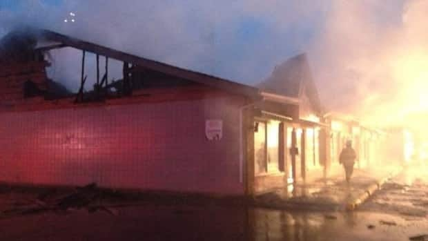 Edmonton firefighters battle a strip mall fire at 156th Street and 95th Avenue in the west-end.