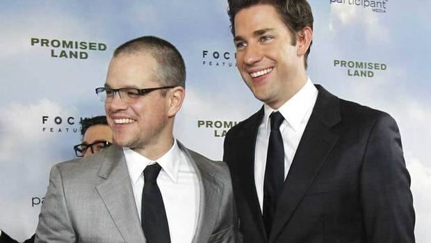 Cast members Matt Damon, left, and John Krasinski pose at the premiere of Promised Land in Los Angeles on Dec. 6. The film will have screen in competition at the Berlin Film Festival.