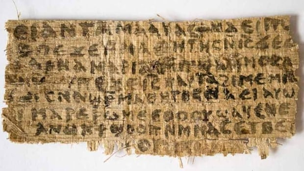 "The text on the papyrus scroll is written in Coptic and contains a dialogue in which Jesus refers to ""my wife."""