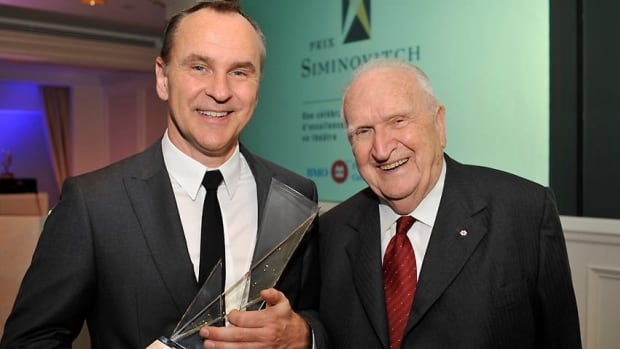 Siminovitch Prize-winning playwright Daniel MacIvor, left, poses with the theatre award's namesake, Lou Siminovitch, in 2008. Organizers have revealed 2012 will be the stage honour's final year.