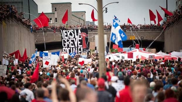 A massive crowd marched through Montreal on May 22, to mark the 100th day of Quebec's student protest movement.