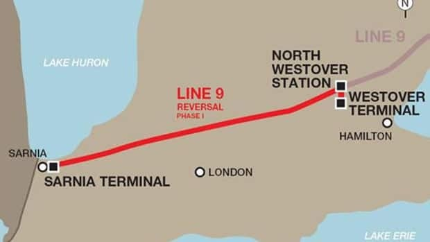 A map showing the proposed reversal of Enbridge's Line 9 pipeline.