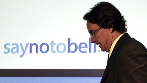 Opponents of the Bell-Astral deal, including Quebecor president and CEO Pierre Karl Peladeau seen at an Aug. 7 press conference, say it will hand too much power to the telecom giant.