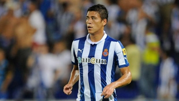 Hector Moreno of Espanyol in action during a match against Real Zaragoza on August 25, 2012 in Barcelona, Spain.
