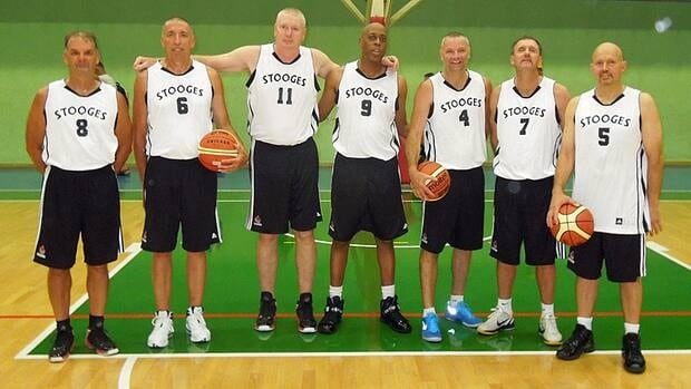 The Stooges, a Hamilton-based basketball team of men age 50 and older, is competing in the World Masters Games in Turin, Italy this week.