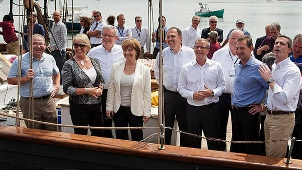 Premiers prepare to sail on the tall ship Amistad in Lunenburg, N.S. on Wednesday. Earlier, premiers met with aboriginal leaders as part of the annual Council of the Federation gathering.