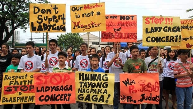 Filipino Christian youths protest Lady Gaga's upcoming concerts at a rally outside the Pasay City Hall in Pasay, south of Manila, on Friday.