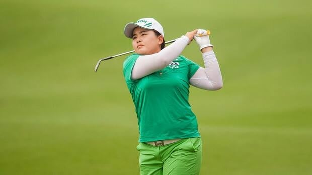Inbee Park of South Korea palys her second shot on the 8th hole during the day three of the Sunrise LPGA Taiwan Championship at the Sunrise Golf Course on Saturday in Taoyuan, Taiwan.