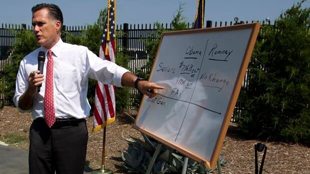 Mitt Romney illustrates his criticism of President Barack Obama's Affordable Healthcare for America Act, during a news conference in Greer, S.C., on Thursday.