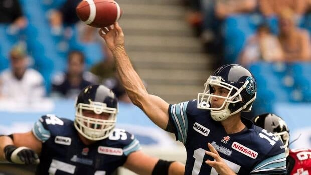 Toronto Argonauts quarterback Ricky Ray launches a pass during first half CFL action against the Calgary Stampeders on July 7.