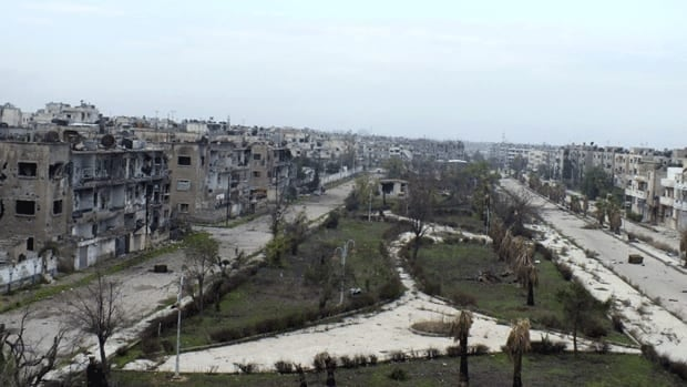 A view of bombed-out buildings in al-Bayada district in Homs in central Syria. The insurrection began 21 months ago with at least 40,000 people killed so far, according to rights groups.
