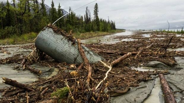 In southwest Yukon, the Alaska Highway is closed between Haines Junction and Destruction Bay because of a washout at the south end of Kluane Lake.