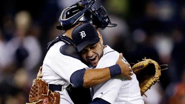 Detroit Tigers starting pitcher Anibal Sanchez, right, hugs catcher Gerald Laird after defeating the Kansas City Royals 2-0 on Tuesday.