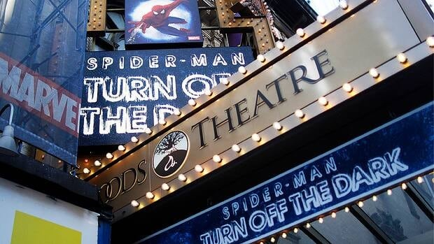 The marquee for the Broadway show Spider-Man: Turn Off The Dark is seen outside the Foxwoods Theatre in New York December 21, 2010.