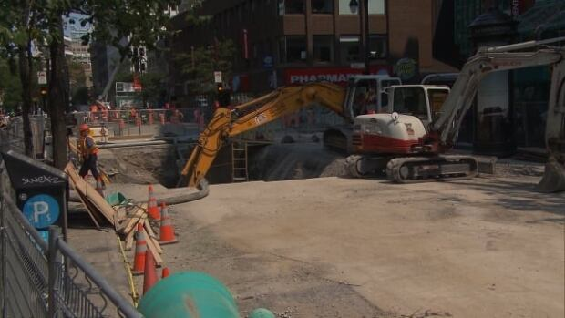 Crews are on the scene 16 hours a day to repair a sinkhole in downtown Montreal.