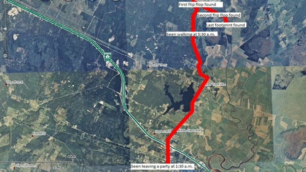 This map shows the route Christopher Metallic would have taken from the house party on Allison Drive to a wooded area 15 kilometres away, where police found flip-flops he had been wearing.