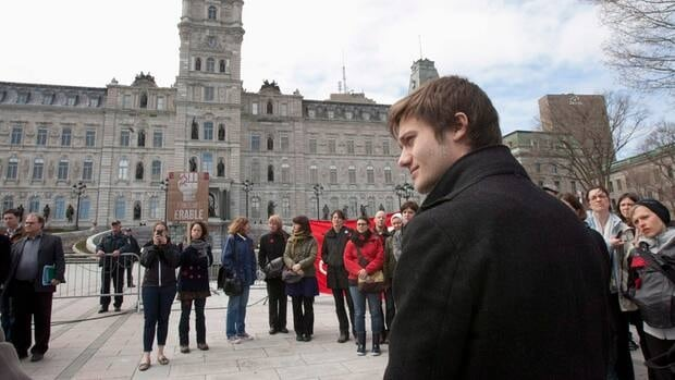 Leo-Bureau-Blouin, foreground, leader of the Quebec's college student federation FECQ, will meet with the government, along with other student leaders Friday afternoon.