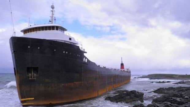 The MV Miner has been stuck off Cape Breton's coast for more than a year. It was en route to Turkey when the towline snapped and it ran aground.