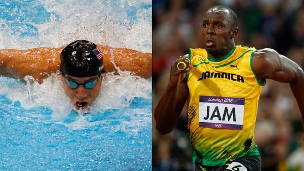 American swimmer legend Michael Phelps, left, and sprinting superstar Usain Bolt of Jamaica were the top stars of the 2012 London Olympics.