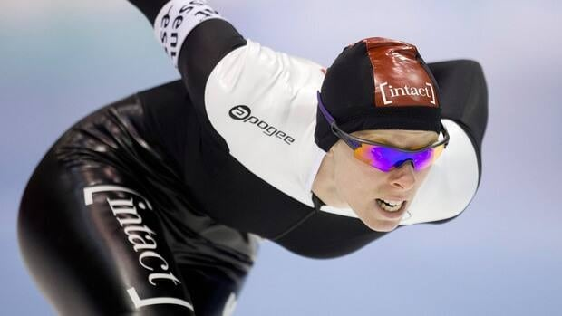 Christine Nesbitt of Canada skates to win the women's 1,500-metre race at the ISU Speedskating World Cup at Thialf stadium in Heerenveen, Netherlands on Saturday.