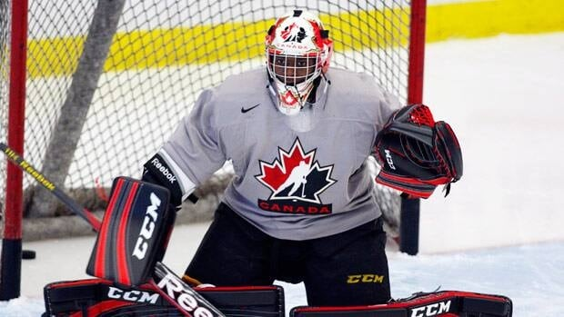 Malcolm Subban of the Belleville Bulls, seen Tuesday at camp in Calgary, will look to secure one of the roster spots in net.