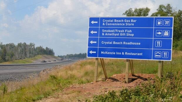 A sign has now been set up on the new Highway 11/17 directing travellers toward the Shuniah Business District.
