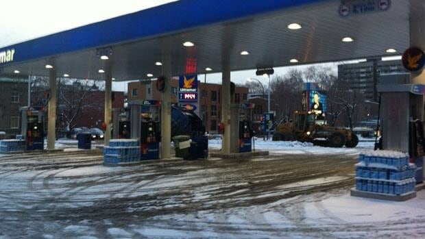 A nearly-deserted Montreal gas station after price jumps 14-cents overnight.