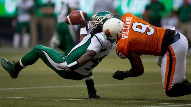 B.C. Lions' Keron Williams sacks Saskatchewan Roughriders quarterback Darian Durant during the second half of a game between the two teams on Aug. 19.