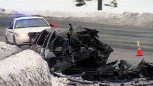 The limousine was destroyed in the fire following the crash.