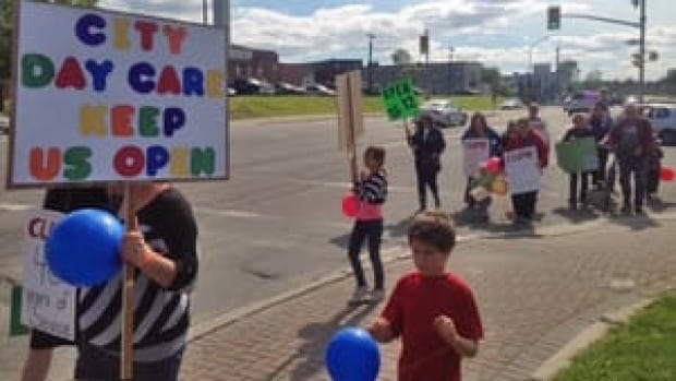 Dozens of parents and daycare workers rallied outside a Sudbury council meeting in June 2013 concerned about the possibility of closing the city-run Junior Citizens Daycare. Council now is hoping to find another agency to take it over the 120-space centre.