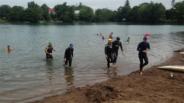 The swimmers have been training since January for the 14-kilometre swim across the Northumberland Strait for charity.