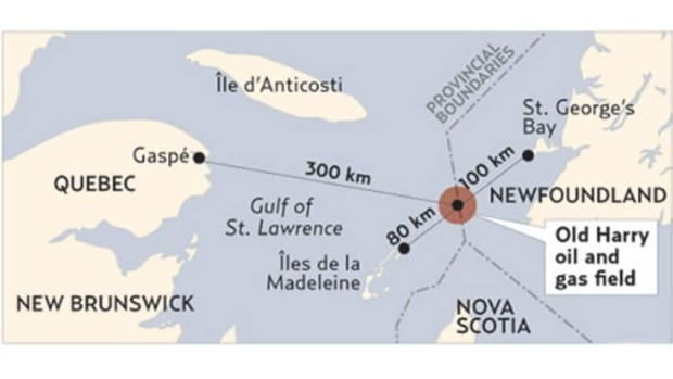 The Old Harry prospect, located midway between the Magdalen Islands and Cape Anguille in western Newfoundland.