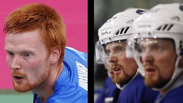 A composite photo shows Swedish badminton champ Henri Hurskainen, left, next to Vancouver Canucks players and twins Daniel and Henrik Sedin. Hurskainen's strong resemblance to the Sedins has led to jokes he must be a long-lost brother separated at birth.