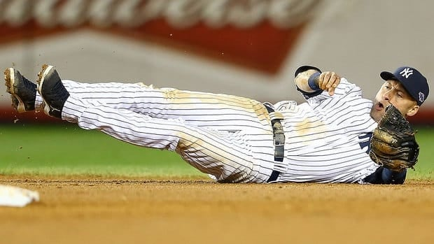 Yankees shortstop Derek Jeter broke his ankle Saturday while trying to field a ground ball.