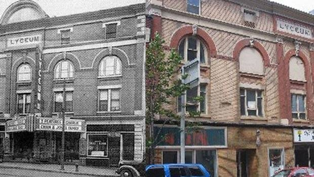 Thunder Bay Lyceum Theatre building, old and current photo merge