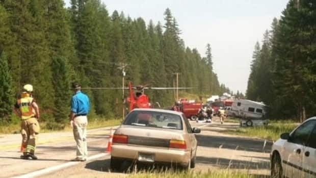 Emergency workers on the scene of the crash site in Montana.