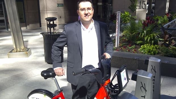 Guillaume Vadeboncoeur owns a bike, but said using the Bixi stations is more convenient to get to and from work.