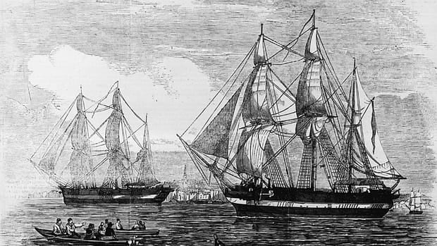 HMS Erebus and HMS Terror, shown in the Illustrated London News published on May 24, 1845, left England that year under the command of Sir John Franklin and in the search of the Northwest Passage.