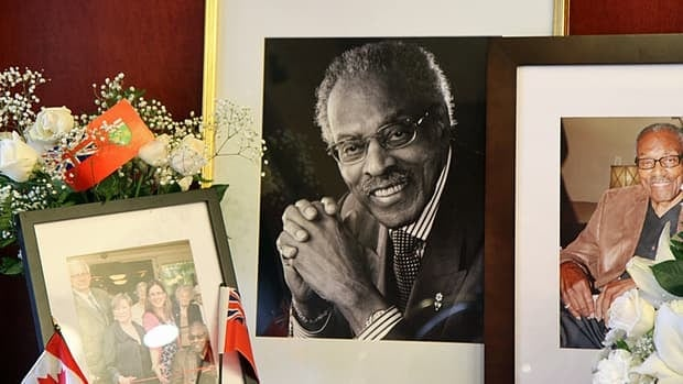 Staff and residents at the Caroline Place Retirement Residence set up a shrine to Lincoln Alexander on Friday.