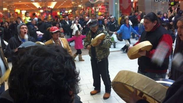 An Idle No More round dance and drumming session sprung up at the New Sudbury Mall Dec. 27.