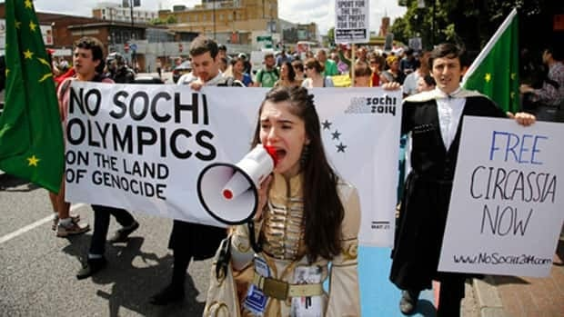 Circassian protesters took part in anti-Olympic demonstrations at the 2012 London Games. A small group also participated in protests at the 2010 Olympics in Vancouver.