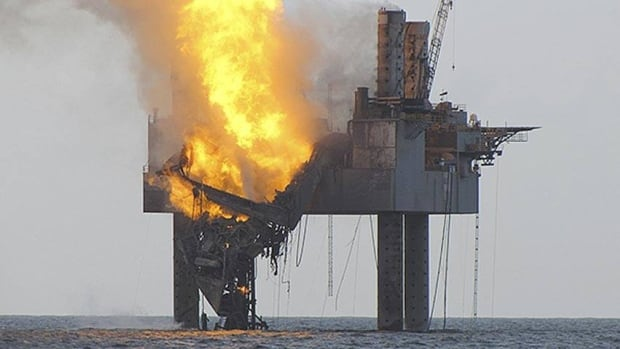 Tuesday's blowout prompted the safe evacuation of 44 workers. By Wednesday evening, the derrick and drill floor structure had collapsed. Officials said Thursday that the fire at the natural gas well is out.