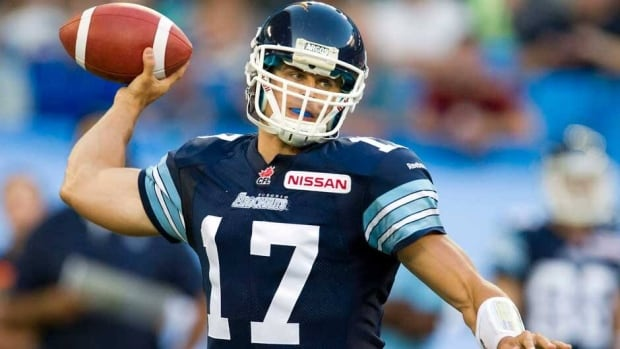 Toronto Argonauts quarterback Zach Collaros launches a pass against the B.C. Lions during the first half in Toronto on Tuesday.