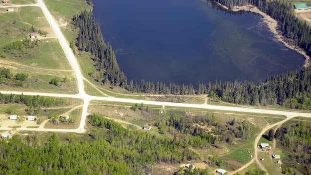 An aerial view of Sandy Lake, where a man was found clinging to ice in May of 2011.