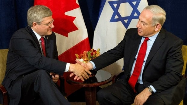 Prime Minister Stephen Harper met with Israeli Prime Minister Benjamin Netanyahu in New York last September. Nearly half of Canadians polled would prefer the federal government be neutral when it comes to Israel and the Palestinian Territories, with more than a quarter saying they're unsure how to handle the issue.
