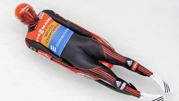 Felix Loch of Germany speeds down the ice channel during the men's luge World Cup race in Altenberg, Germany, on Sunday, Dec. 9, 2012.